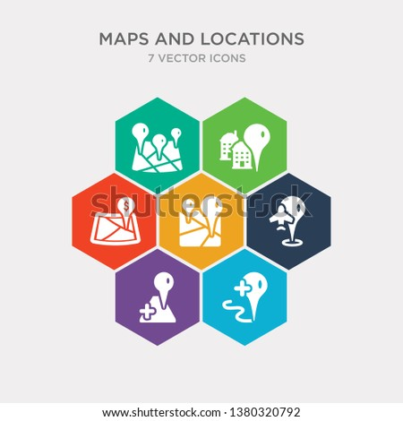 simple set of add location, add to map, airport pin, arrow on map icons, contains such as icons bank pin, building pin, center and more. 64x64 pixel perfect. infographics vector