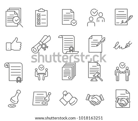 Simple Set of agreement Related Vector Line Icons. Contains such Icons as contract, agreement, handshake, license, documents, signature, stamp, transaction, business and more.