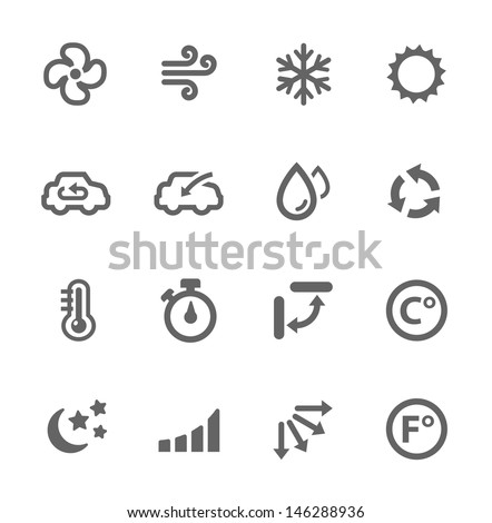 Shutterstock Simple set of air conditioning related vector icons for your design.
