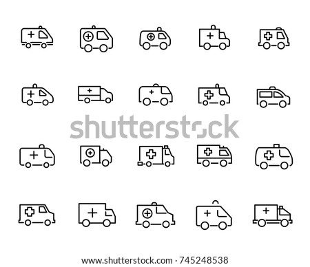 Simple set of ambulance related outline icons. Elements for mobile concept and web apps. Thin line vector icons for website design and development, app development. Premium pack.