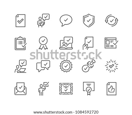 Simple Set of Approve Related Vector Line Icons. Contains such Icons as Inspector, Stamp, Check List and more. Editable Stroke. 48x48 Pixel Perfect. #1084592720