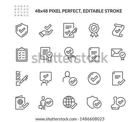 Simple Set of Approve Related Vector Line Icons. Contains such Icons as Protection Guarantee, Accepted Document, Quality Check and more. Editable Stroke. 48x48 Pixel Perfect.