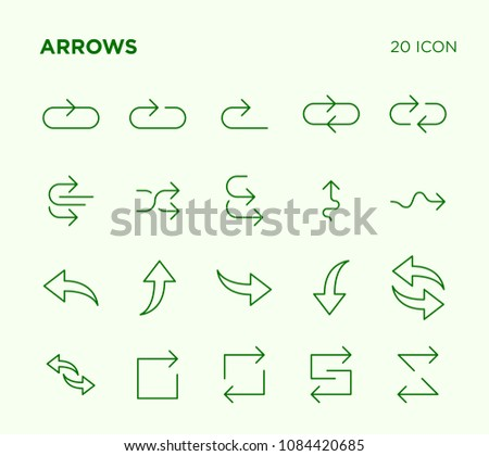 Simple set of arrow vector line icons