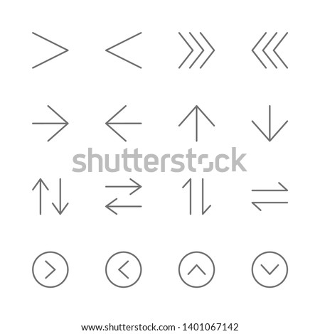 Simple Set of arrows interface Related Vector thin Line Icons. Contains such as direction, nevigation, button, next, skip, up, down, left, right, pointer, exchange and more. illustration
