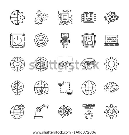 Simple Set of Artificial Intelligence Related Vector Line Icons. Contains such Icons as Face Recognition, Algorithm, Self-learning and more.