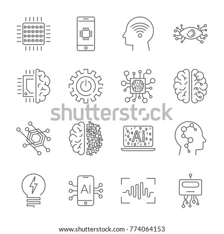 Simple Set of Artificial Intelligence Related Vector Line Icons.  Contains such Icons as Face Recognition, Algorithm, Self-learning and more. Editable Stroke