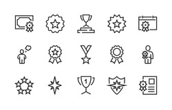 Simple Set of Awards Vector Line Icons. Modern outline elements, graphic design concepts. Contains such Icons as Cup, Pedestal, Medal, Diploma, Star, Calendar. Editable Stroke. 48x48 Pixel Perfect.