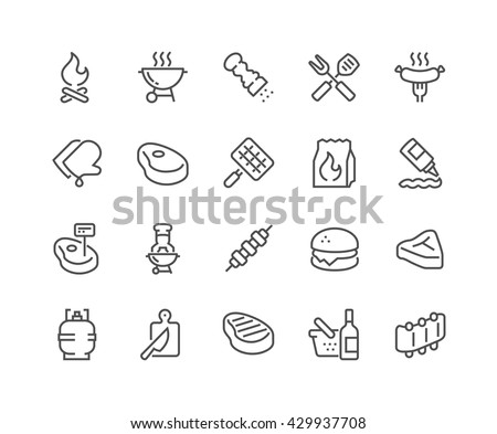 Simple Set of Barbecue Related Vector Line Icons.  Contains such Icons as Steak, Ribs, Bonfire, Gas and more.  Editable Stroke. 48x48 Pixel Perfect.