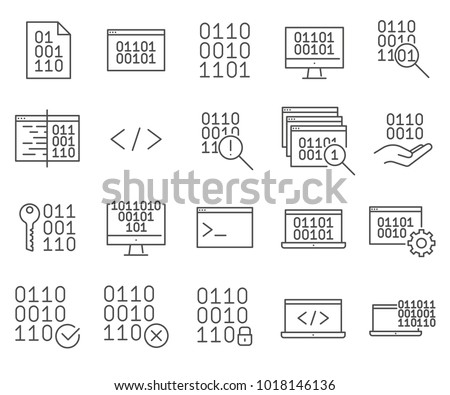 Simple Set of Binary code Related Vector Line Icons. Contains such Icons as coding, programming, binary system, calculus system and more.