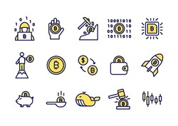 Simple set of Bitcoin line icons. Yellow Bitcoin or Cryptocurrency coin icons for website, application.