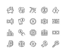 Simple Set of Bitcoin Related Vector Line Icons. Contains such Icons as Mining, Exchange, Payment and more. Editable Stroke. 48x48 Pixel Perfect.