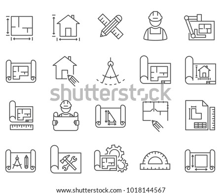 Simple Set of blueprint Related Vector Line Icons. Contains such Icons as scheme, sketch, projection, real estate, project, design, house prototype, layout and more.