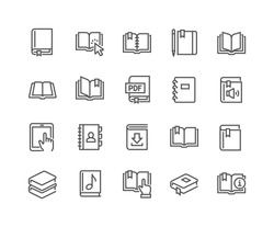 Simple Set of Book Related Vector Line Icons.  Contains such Icons as Organizer, Learning, E-Reader, Audiobook and more.  Editable Stroke. 48x48 Pixel Perfect.