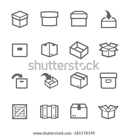 Simple set of box and crates related vector icons for your design