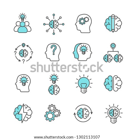 Simple Set of brainstorming Related Vector Line Icons. Contains such Icons as thoughts, idea, meeting, think, brain, head and more. - Vector