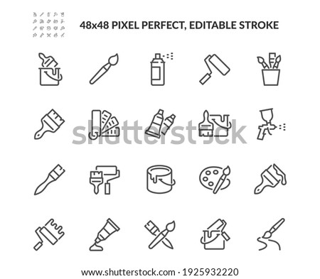 Simple Set of Brushes and Painting Related Vector Line Icons.  Contains such Icons as Spray, Color palette, Paint Bucket and more. Editable Stroke. 48x48 Pixel Perfect.