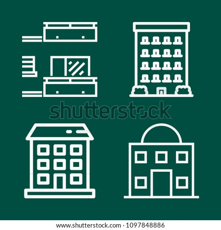 Simple set of buildings vector outline icons. contains such icons as buildings 4. editable stroke. such as