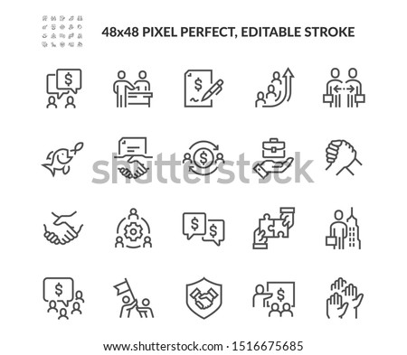 Simple Set of Business Cooperation Related Vector Line Icons.  Contains such Icons as Partnership, Synergy, Interaction and more. Editable Stroke. 48x48 Pixel Perfect.