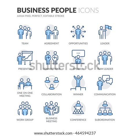 Simple Set of Business People Related Color Vector Line Icons. \ Contains such Icons as  Business Meeting, Handshake, Agreement, One on One Meeting and more. \ Editable Stroke. 64x64 Pixel Perfect.