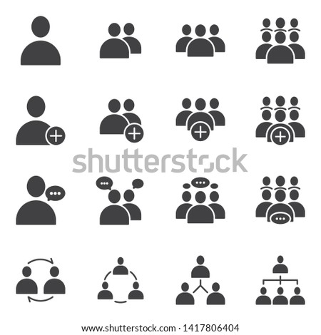 Simple Set of Business People Related Vector flat Glyph solid Icons. Contains such as Meeting, Business Communication, Teamwork, connection, speaking and more