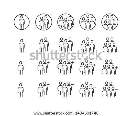 Simple Set of Business People Related Vector flat outline Icons. Contains such as Group of people, Add, Friend request, Communication, Teamwork, Plus, Delete, decre and more. Illustration eps 10.