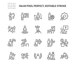 Simple Set of Business People Related Vector Line Icons.  Contains such Icons as Problem Solution, Leadership, Teamwork and more. Editable Stroke. 48x48 Pixel Perfect.