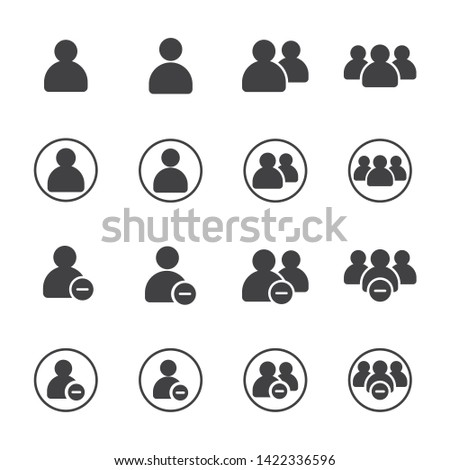 Simple Set of Business People Vector Glyph solid Icons with round. Contains such as group of people, delete, decrease, ban, cancle, fire, exclude, minus, negative and more. illustration eps 10