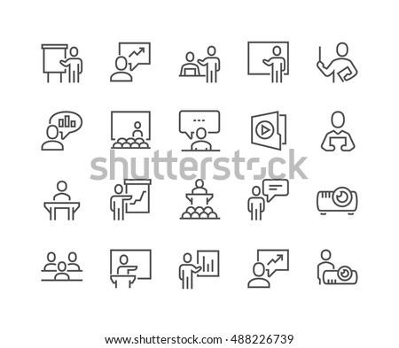Simple Set of Business Presentation Related Vector Line Icons.  Contains such Icons as Presenter, Teacher, Audience and more. Editable Stroke. 48x48 Pixel Perfect. #488226739
