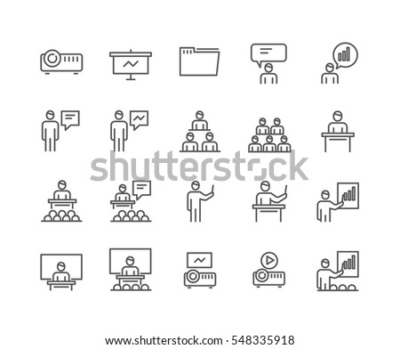 Simple Set of Business Presentation Related Vector Line Icons. Contains such Icons as Presenter, Teacher