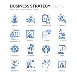 Simple Set of Business Strategy Related Vector Line Icons. Contains such Icons as Action List, Research, Solution and more. Editable Stroke. 64x64 Pixel Perfect.