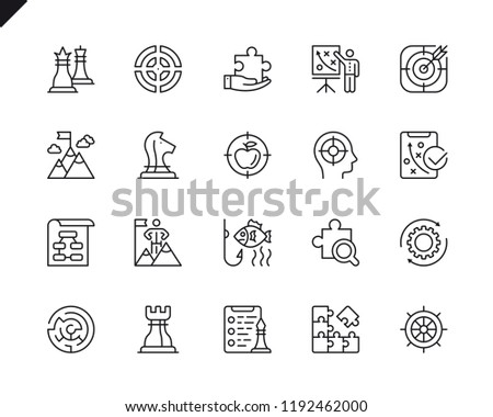 Simple Set of Business Strategy Related Vector Line Icons. Linear Pictogram Pack. Editable Stroke. 48x48 Pixel Perfect Icons.