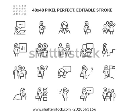 Simple Set of Business Woman Related Vector Line Icons.  Contains such Icons as Handshake, Meeting, Female Leader and more. Editable Stroke. 48x48 Pixel Perfect.
