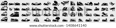 Simple Set of Car Accident Related Vector Icons.  Frontal Collision, Broken Car, Damaged Elements and more. Various types of accidents involving: car, truck, bus, train, motorbike, scooter, bicycle...