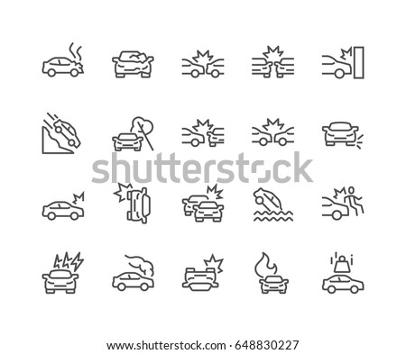 Simple Set of Car Accident Related Vector Line Icons.  Contains such Icons as Side Collision, Frontal Collision, Broken Car, Damaged Elements and more. Editable Stroke. 48x48 Pixel Perfect.