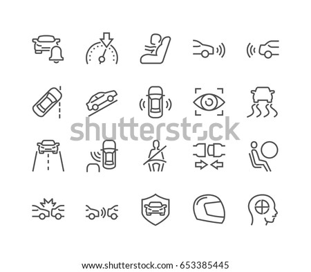 Simple Set of  Car Safety Related Vector Line Icons.  Contains such Icons as Baby Cheat, Lane Control, Front and Back Parking Sensors and more. Editable Stroke. 48x48 Pixel Perfect.