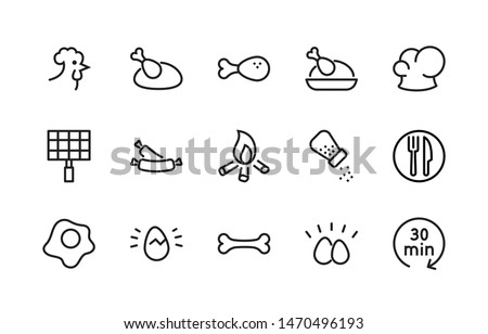 Simple Set of Chicken Well-crafted Vector Line Icons. Contains such Icons as Rooster, Eggs, Scrambled, Chef's Hat, Sausages, Salt, Grill, Time, Plate, Fork, Knife. Editable Stroke. 48x48 Pixel Perfect