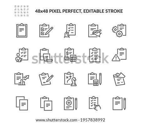 Simple Set of Clipboard Related Vector Line Icons. Contains such Icons as Contact, Checklist, Petition and more. Editable Stroke. 48x48 Pixel Perfect.
