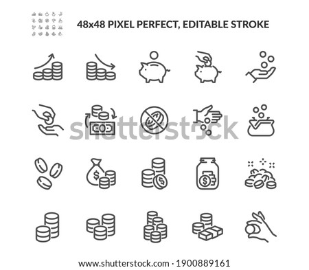 Simple Set of Coins Related Vector Line Icons. Contains such Icons as Coins Stack and Donation, Tips Jar and more. Editable Stroke. 48x48 Pixel Perfect. Foto stock ©