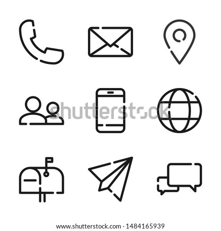 Simple set of communication line icon. Phone, mail, message, chat and more. Editable stroke Foto stock ©
