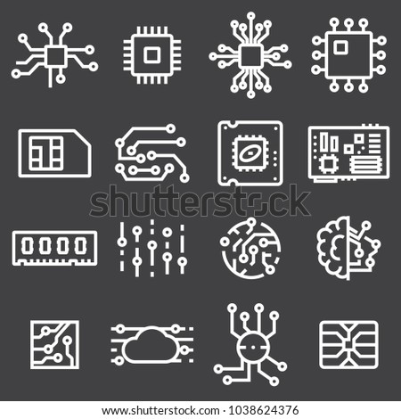 Simple Set of Computer Chips Related Vector Icons on Gray Background