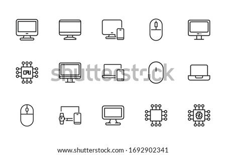 Simple set of computer icons in trendy line style. Modern vector symbols, isolated on a white background. Linear pictogram pack. Line icons collection for web apps and mobile concept.
