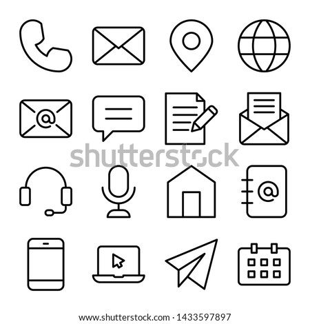 Simple set of contact us related vector line icons. Mail, message, telephone, chat, and more. Editable stroke