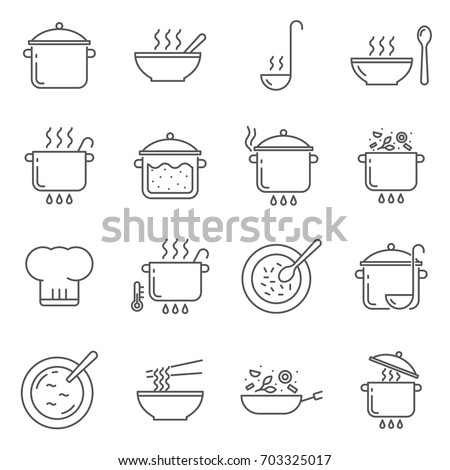 Simple Set of cooking Related Vector Line Icons. Contains such Icons as crockery, pot, dish, soup, lunch and more.