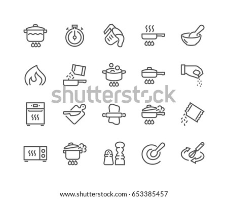 Simple Set of Cooking Related Vector Line Icons.  Contains such Icons as Frying Pan, Boiling, Flavoring, Blending and more. Editable Stroke. 48x48 Pixel Perfect.