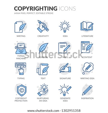 Simple Set of Copyrighting Related Vector Line Icons. Contains such Icons as Typing Machine, Signature, Creative Process and more. Editable Stroke. 64x64 Pixel Perfect.
