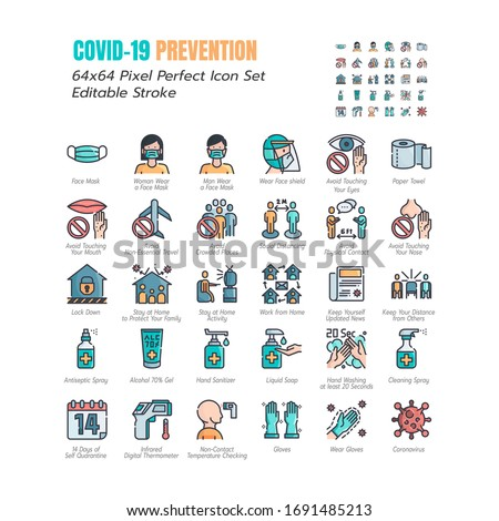 Simple Set of Coronavirus Prevention COVID-19 Filled Line Icons. such Icons as Gloves, Mask, Social Distancing, Stay Home, Quarantine, Avoid Close Contact 64x64 Pixel Perfect Editable Stroke. Vector.