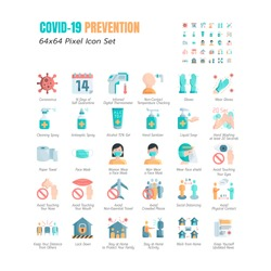 Simple Set of Coronavirus Prevention COVID-19 Flat Icons. such Icons as Gloves, Mask, Social Distancing, Stay Home, Quarantine, Avoid Close Contact, Work From Home, Paper Towel. 64x64 Pixel. Vector.