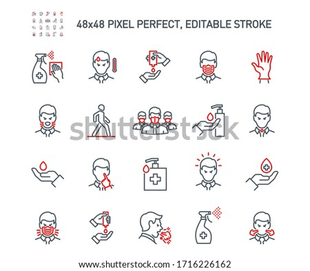 Simple Set of Coronavirus Protection Related Vector Line Icons. Contains such Icons as Protective Measures, Coronavirus Symptoms, Incubation Period and more. Editable Stroke. 48x48 Pixel Perfect.