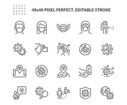 Simple Set of Coronavirus Safety Related Vector Line Icons.  Contains such Icons as Washing Hands, Outbreak Map, Man and Woman Wearing Face Mask and more. Editable Stroke. 48x48 Pixel Perfect.