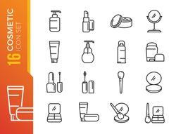 Simple Set of Cosmetics Related Vector Line Icons. Contains such Icons as Cream Bottle, Lipstick, Makeup Brush and more